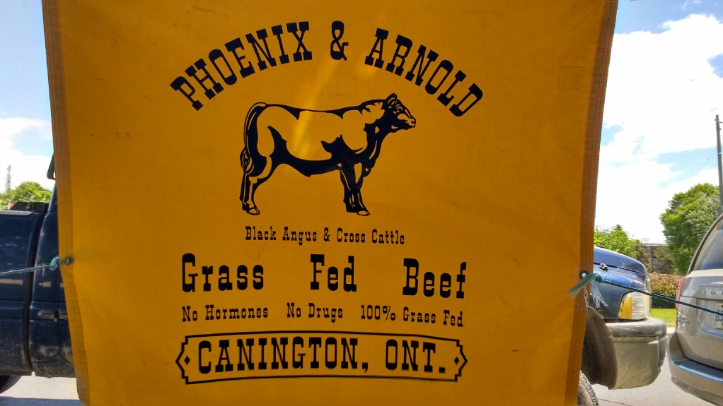 Phoenix and Arnold Grass Fed Beef sign.